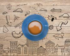 Composite image of blue cup of coffee - stock illustration
