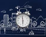 Stock Illustration of Composite image of alarm clock