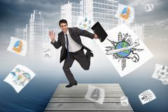 Composite image of cheerful businessman in a hurry - stock illustration