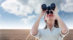 Composite image of businesswoman looking through binoculars Stock Illustration