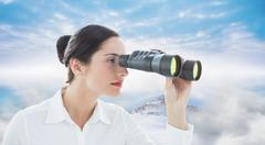 Composite image of business woman looking through binoculars Stock Illustration