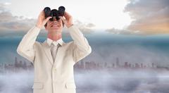 Composite image of confident businessman with binoculars Stock Illustration