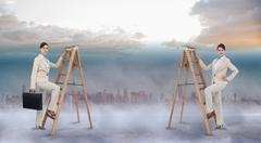 Composite image of multiple image of businesswoman climbing ladder - stock illustration