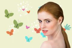 Composite image of beautiful redhead looking at camera Stock Illustration