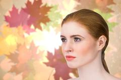 Stock Illustration of Composite image of beautiful redhead posing with hair tied