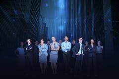 Stock Illustration of Business team against cityscape background