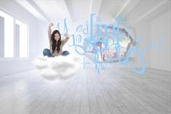 Stock Illustration of Composite image of woman looks straight ahead as she celebrates in front of her