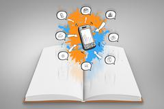 Composite image of smartphone apps on paint splashes on open book Stock Illustration