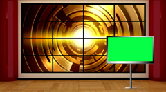 News TV Studio Set 04 - Virtual Green Screen Background Loop Stock Footage