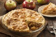 Stock Photo of homemade organic apple pie dessert