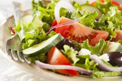 homemade organic greek salad - stock photo