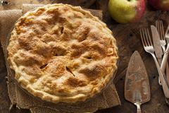homemade organic apple pie dessert - stock photo