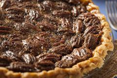 Homemade delicious pecan pie Stock Photos