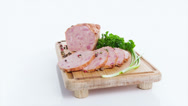 Stock Video Footage of Delicious smoked pork with basil