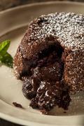 homemade chocolate lava cake dessert - stock photo