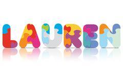 Vector lauren written with alphabet puzzle Stock Illustration