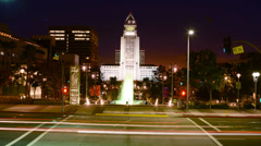 LA City Hall Fountain Time Lapse at Night Stock Footage
