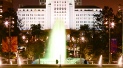 LA City Hall Fountain Time Lapse at Night -Close Up- - stock footage
