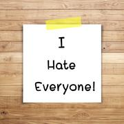 i hate everyone on sticky paper on brown wood plank wall texture background - stock illustration