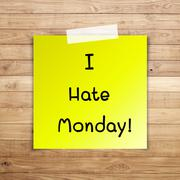 I hate monday on sticky paper on brown wood plank wall texture background Stock Illustration