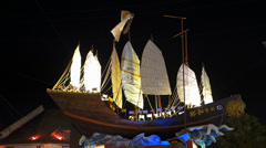 Melaka Malacca Chinatown Admiral Cheng Ho Zheng He Fleet sculpture Malaysia Asia Stock Footage