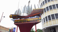 Stock Video Footage of Melaka Malacca Chinatown Admiral Cheng Ho Zheng He Fleet sculpture Malaysia Asia