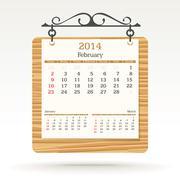 february 2014 - calendar - stock illustration
