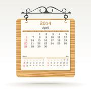 april 2014 - calendar - stock illustration