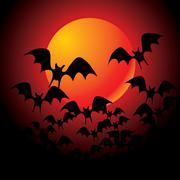 halloween background with full orange moon - stock illustration