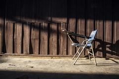old chair with lighting - stock photo