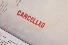 passport stamp cancelled - stock photo
