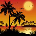 Stock Illustration of Tropical islands, palms, flowers and birds