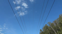 High-voltage tower in the forest Stock Footage