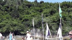 Tyrolean in Praia Tropical island, Brazil Stock Footage