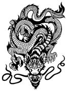 Dragon black white Stock Illustration