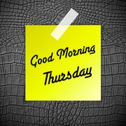 Good morning thursday working day on grey leather texture background Stock Illustration