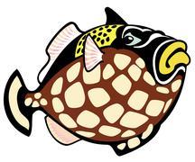 Cartoon clown trigger fish Stock Illustration