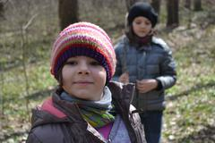 Portrait Of Two Little Girls In The Woods, Nature, Fun, Youth Stock Photos