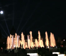 Water light in Barcelona, National Palace Stock Footage
