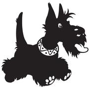 Cartoon scottish terrier black white Stock Illustration