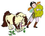 Stock Illustration of girl grazing pony