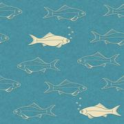 Seamless pattern of swimming fish with bubbles - stock illustration
