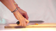 Cutting Carrot Stock Footage
