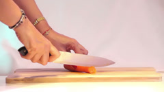 Cutting Carrot 02 - stock footage