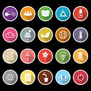 ecology icons with long shadow - stock illustration