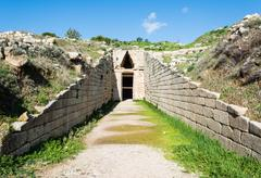Treasury of atreus at Mycenae, greece Stock Photos