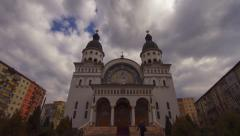 Romanian church in time lapse mode Stock Footage
