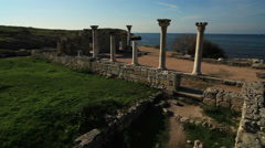 Aerial View: National Preserve of Tauric Chersonesos, Sevastopol, Crimea. Stock Footage