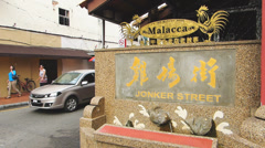 Melaka Malacca Unesco Chinatown Jonker street commercial signs Malaysia Asia Stock Footage