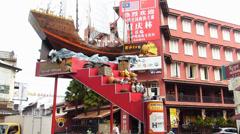 Melaka Malacca Unesco Chinatown Jonker street Admiral Cheng Ho Zheng He Fleets Stock Footage